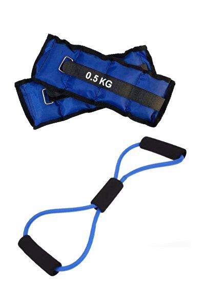 Direnç Egzersiz Lastiği Tübülü Ve 0.5Kg El Ayak Bilek Ağırlığı Kum Torbası Pilates Seti
