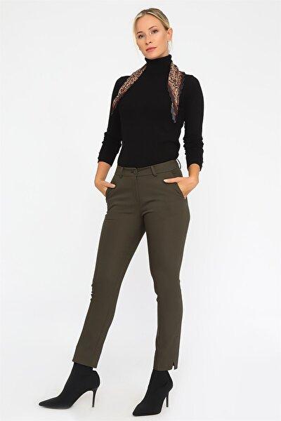 Kadın Haki Paçası Yırtmaçlı Pantolon
