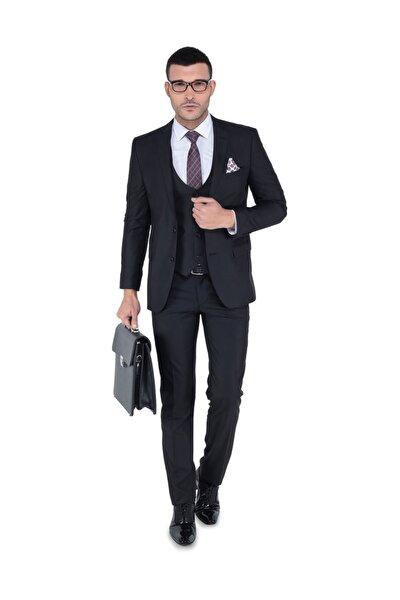 Erkek Siyah Yelekli Dar Kalıp Takım Elbise