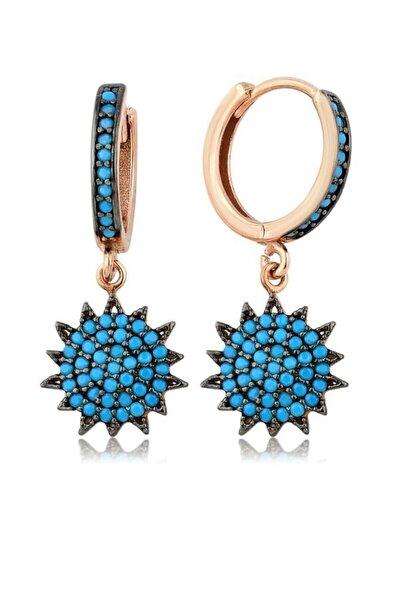Kadın Mavi Rose 925 Gümüş Firuze Taşlı Güneş Küpe MA_KP_1198