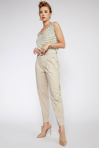 Kadın Bej Kemer Aksesuarlı Pantolon