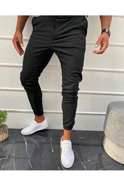 Erkek Siyah Düz Jogger Kumaş Stil Paça Lastikli Pantolon