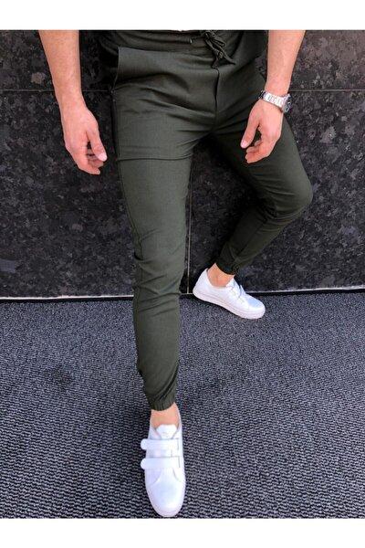 Erkek Yeşil Düz Jogger Kumaş Stil Paça Lastikli Pantolon