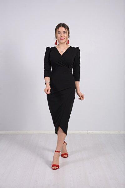 Kadın Siyah Krep Kumaş Midi Boy Elbise