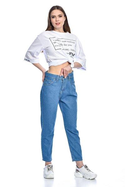 Kadın Mavi Boyfiıend Kot Pantolon