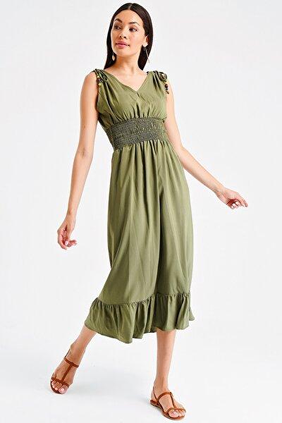 Kadın Haki Beli Lastikli Alt Fırfırlı Boncuklu Elbise S-20Y0250015