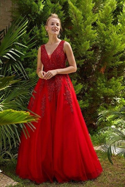Kadın Kırmızı Payet İşlemeli Uzun Abiye Elbise 4XLBK61097