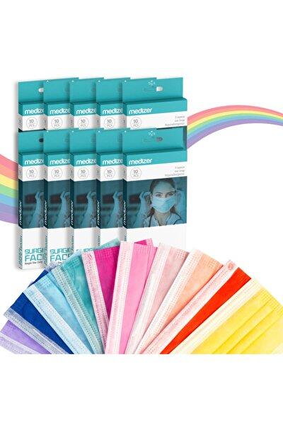 Medizer Color Serisi Renkli Full Ultrasonik Cerrahi Ağız Maskesi 3 Katlı 10'lu 10 Kutu - Burun Telli