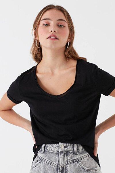 Kadın V Yaka Siyah Basic T-Shirt 166446-900