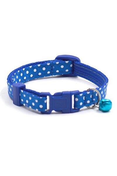 Kedi Ve Köpek Boyun Tasmaları Nokta Desenli Çıngıraklı_mavi