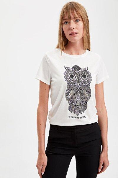 Kadın Ekru Baykuş Baskılı Kısa Kollu Tişört S7100AZ20SM