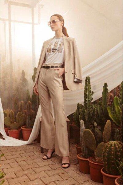 Kadın Bej Çizgili Pantolon