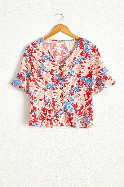 Kadın Kırmızı Baskılı Bluz 0WAK41Z8