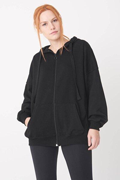 Kadın Siyah Kapşonlu Sweatshirt H0725 - İ7 - İ8 ADX-0000020316