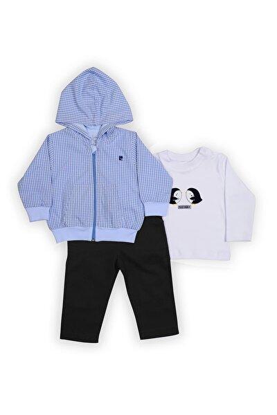 Pierre Cardin Ekoseli Kapüşonlu Bebek Takımı Mavi