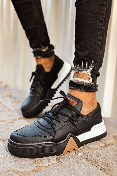 Siyah Hakiki Deri Sneakers