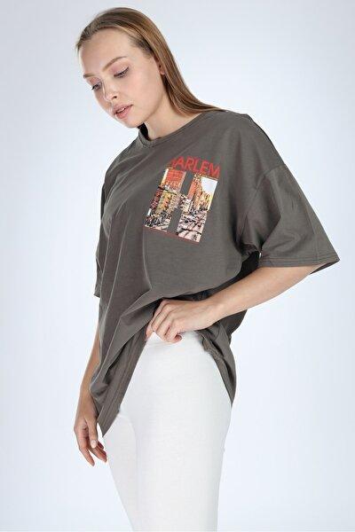 Kadın Haki Harlem Baskılı Oversize T-shirt