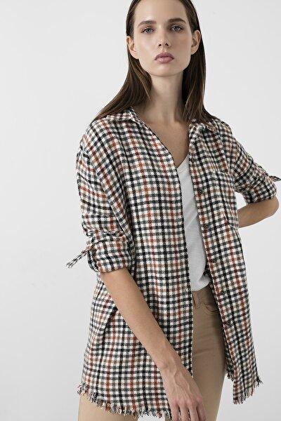 Kadın Siyah Kare Desenli Cepli Oduncu Uzun Gömlek 59120467kare