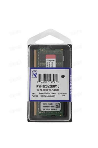 16gb Ddr4 3200mhz Cl22 Notebook Ram Kvr32s22d8/16