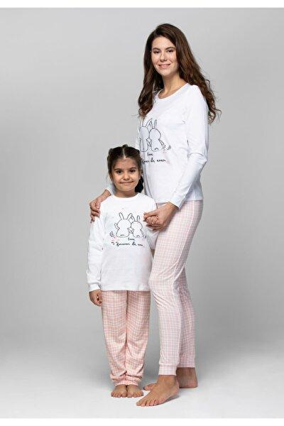 Anne Kız Pembe Beyaz Just Basic Cool Pijama Takımı