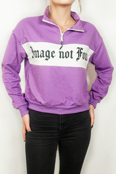 Kadın Mor Fermuarlı Sweatshirt