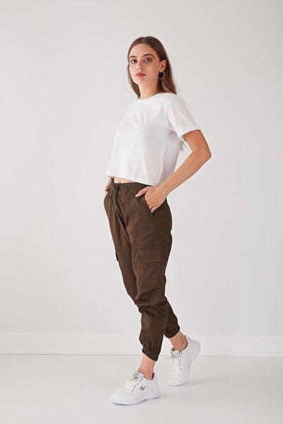 Kadın Haki Beli Paçası Lastikli Kargo Pantolon