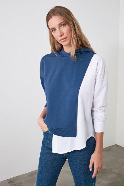 Indigo Poplin Detaylı Kapüşonlu Basic Örme Sweatshirt TWOSS20SW0084