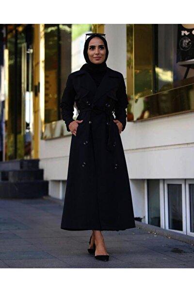 Kadın Siyah Klasik Kesim Trençkot