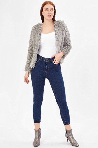 Kadın Yüksek Bel Basic Pantolon - Orta Mavi