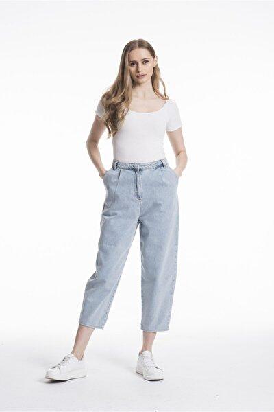 Kadın Yüksek Bel Balon Mom Jeans Pantolon