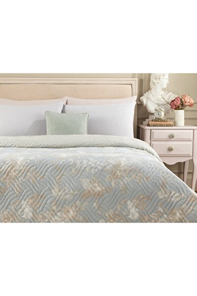 Curtice Çift Kişilik Baskılı Yatak Örtüsü - Mavi