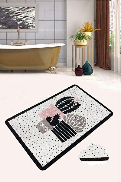 Three Cactus Djt 80x100 cm Banyo Halısı Paspas Kaymaz Taban Yıkanabilir