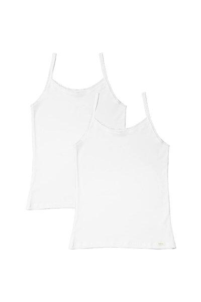 Basic 2'li Kız Çocuk Ince Askılı Atlet - Beyaz