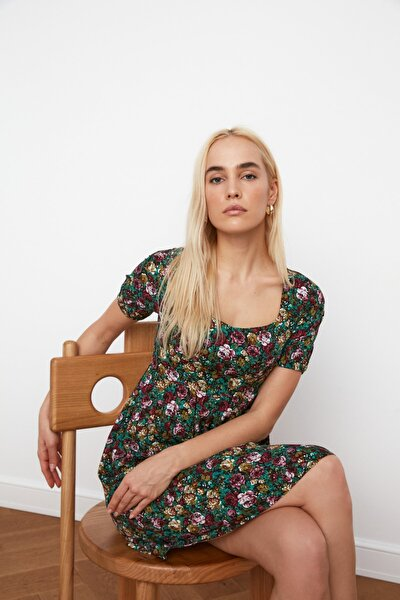 Siyah Çiçek Desenli Elbise TWOSS21EL1670