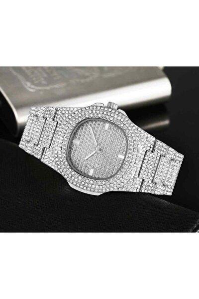 Kadın Gümüş Taşlı Parlak Kuvars Kol Saati Saat007