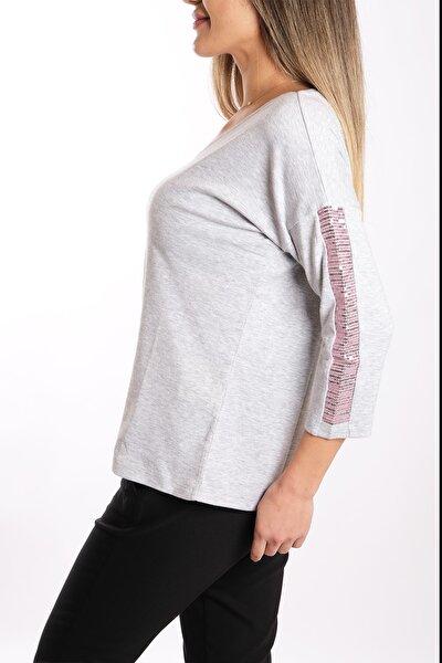 Kadın Omzu Pembe Pullu Pamuk Bluz