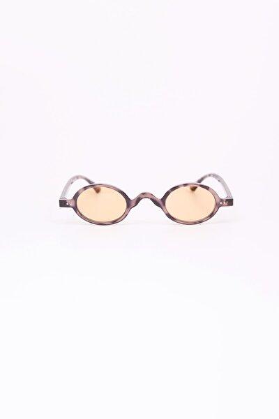 Minimal Leopar Oval Güneş Gözlüğü - Krem Şeffaf Cam