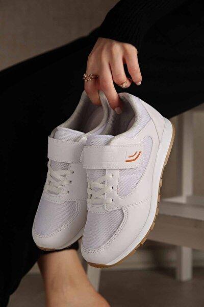 Kadın Beyaz Krep Cırtlı Spor Ayakkabı