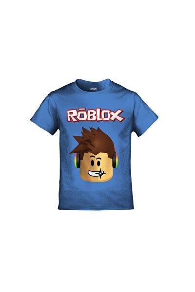 Roblox Baskılı Mavi Çocuk Tshirt