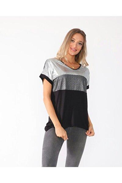 Kadıd Gri-siyah Ön Parçalı V Yakalı Salaş Tshirt