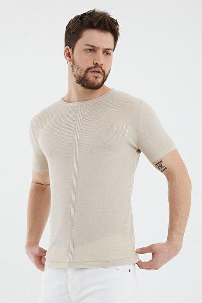 Erkek Bej Bisiklet Yaka Tişört