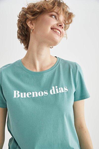 Kadın Mavi Regular Fit Yazı Baskılı Kısa Kol Tişört