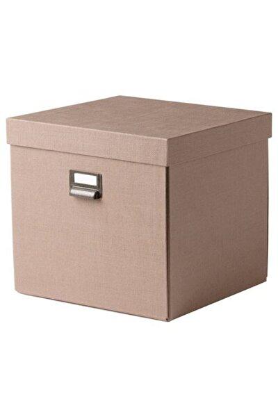 Kapaklı Kutu Düzenleyici Meridyendukkan Ev Düzeni Düzenleme Saklama Kutusu Koyu Bej 32x31x30 Cm