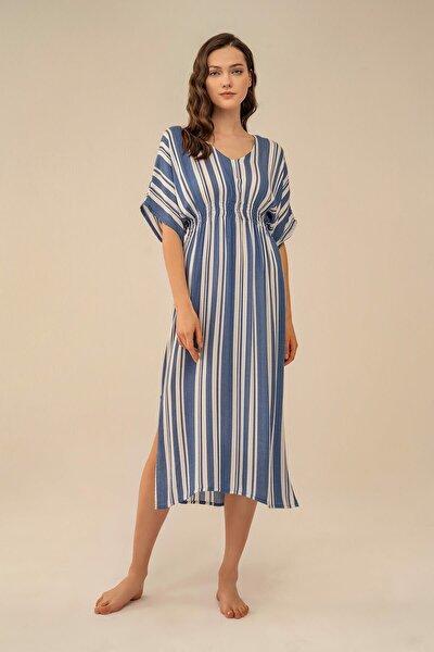 Kadın Mavi Boydan Çizgili Elbise