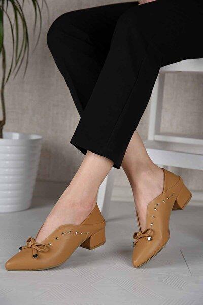Kadın Hardal Cilt Troklu Günlük Ayakkabı