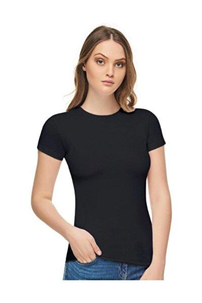 Kadın Siyah Sıfır Yaka Likralı Kısa Kol  T-shirt