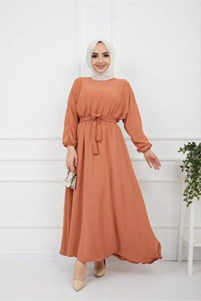 Kadın Camel Kuşaklı Ayrobin Kumaş Elbise
