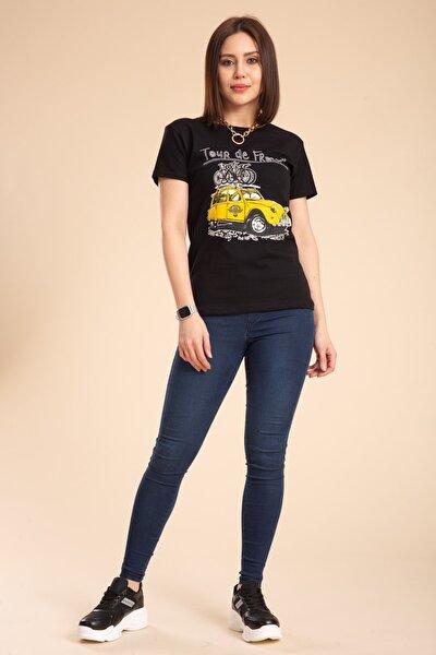 Kadın Siyah Işlemeli Tişört