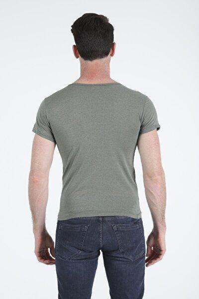 Erkek Yeşil Basic Slim Fit Kısa Kollu T-shirt