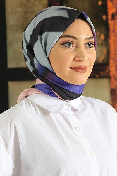 Kadın Renkli Desenli Pamuk Eşarp Tmede-102